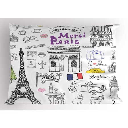 Doodle Pillow Sham Paris Culture in Doodle Style Drawing Eiffel Tower Beret Croissant Blue Cheese Taxi, Decorative Standard Queen Size Printed Pillowcase, 30 X 20 Inches, Multicolor, by