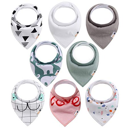 Baby Bandana Drool Bibs 8-Pack for Boys & Girls, Unisex, Baby Shower Gift, 100% Organic Cotton, Soft, Absorbent and Stylish, f - image 1 of 1