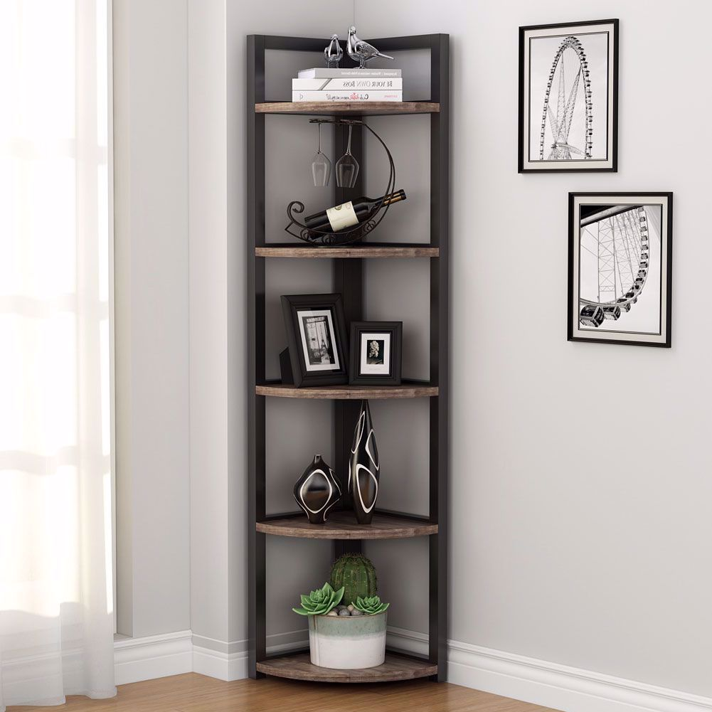 Home Office Small Space Rustic Corner Storage Rack Plant Stand Small Bookshelf for Living Room Kitchen Tribesigns 5 Tier Corner Shelf