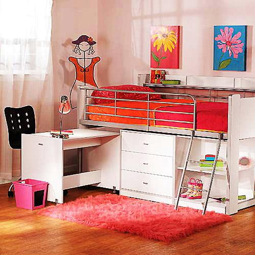 Charleston Storage Loft Bed With Desk White Walmart Com