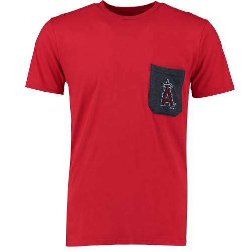 Los Angeles Angels Majestic Threads Contrast Color Pocket T-Shirt - Red