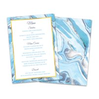Personalized Blue Marble Wedding Menu Card