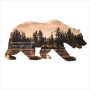 Precision Metal Art BEAR-18BEARQUOTE 18 in. Wildlife Bear Silhouette Metal Laser Cut Wall Art With Striking Images of a Wilderness Lake With Quote