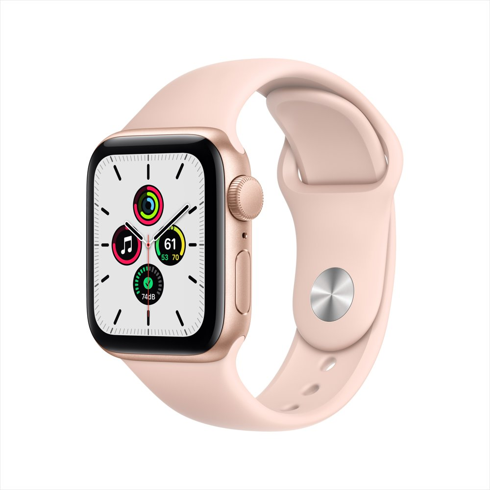 Apple Watch SE GPS, 40mm Gold Aluminum Case with Pink Sand Sport Band - Regular