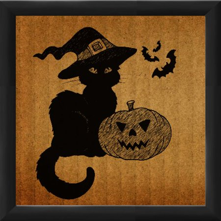 PTM Images Halloween Cat in a Hat Framed Graphic Art - Captain Hat Halloween