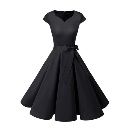 Bagail Women's Audrey Hepburn 50s Polka Dot Vintage Dress Rockabilly Swing Dress Cock tail Party Dress With Belt](Diy 50s Skirt)