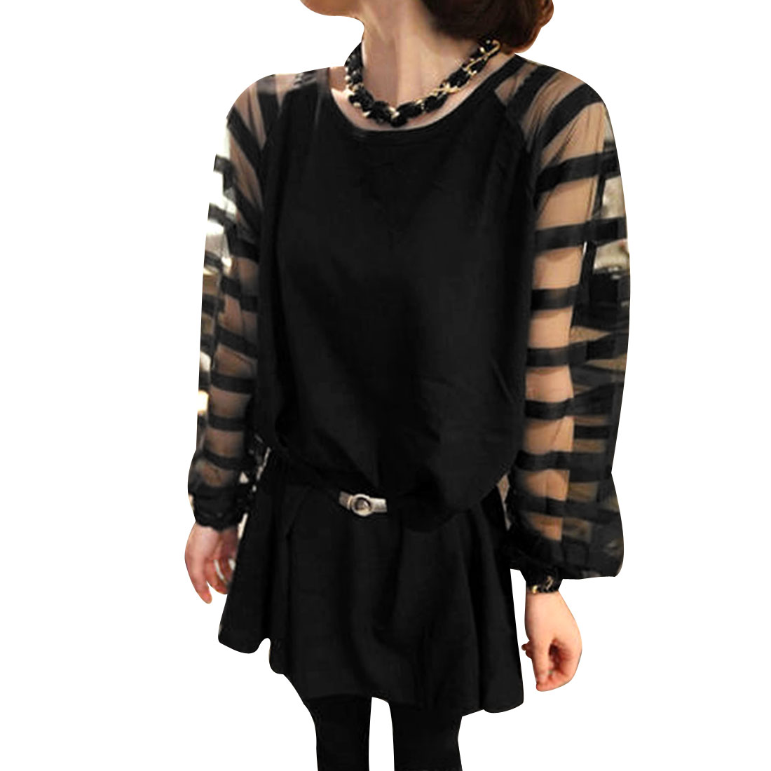 Women's Round Neck Gauze Semi-Sheer Long Raglan Sleeve Pullover Tops (Size S / 4)
