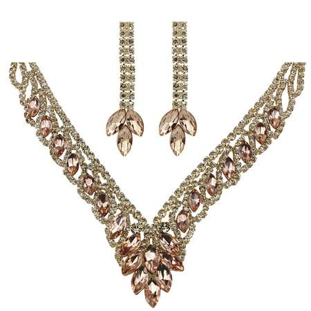 Teardrop Cubic Zirconia Necklace Earrings Set, Rose