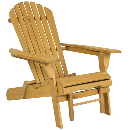 Best Choice Products Foldable Outdoor Patio Deck Wood Adirondack Chair w/ Pull Out Ottoman - Natural
