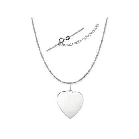 Satin Silver Heart - Sterling Silver Anti-Tarnish Treated Heart Polish Front and Satin Back Disc Necklace