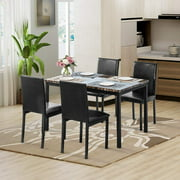 5 Piece Dining Table and Chair Set, Metal Dining Set with Faux Marble Top Dining Table and 4 PU Leather Chairs, Kitchen Dining Table Set for Dining Room, Breakfast Nook, Living Room, Black, W13282