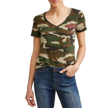 Camo Rash Guard - EV1 from Ellen DeGeneres Love Scribble Camo V-Neckline Short Sleeve Graphic Tee Women's