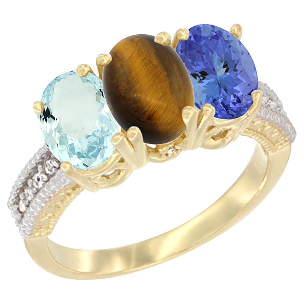 14K Yellow Gold Natural Aquamarine, Tiger Eye & Tanzanite Ring 3-Stone Oval 7x5 mm Diamond Accent, sizes 5 10 by WorldJewels