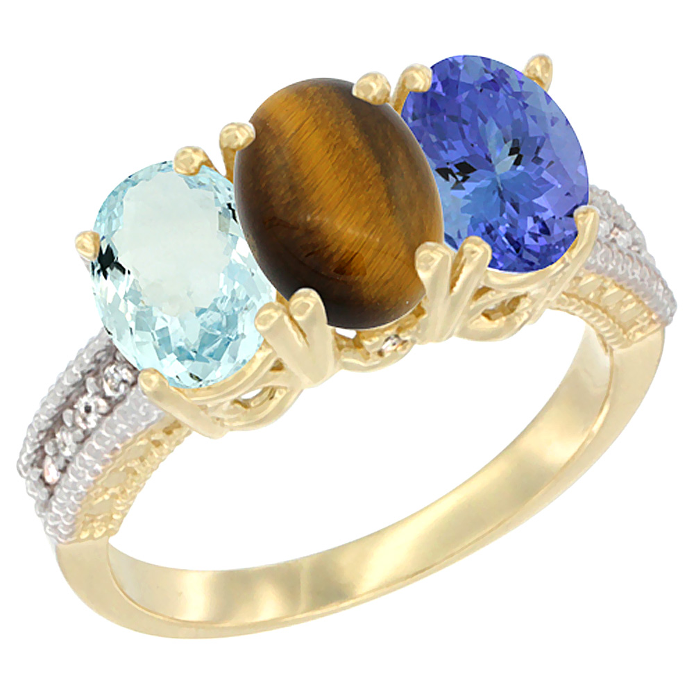 10K Yellow Gold Natural Aquamarine, Tiger Eye & Tanzanite Ring 3-Stone Oval 7x5 mm, sizes 5 - 10
