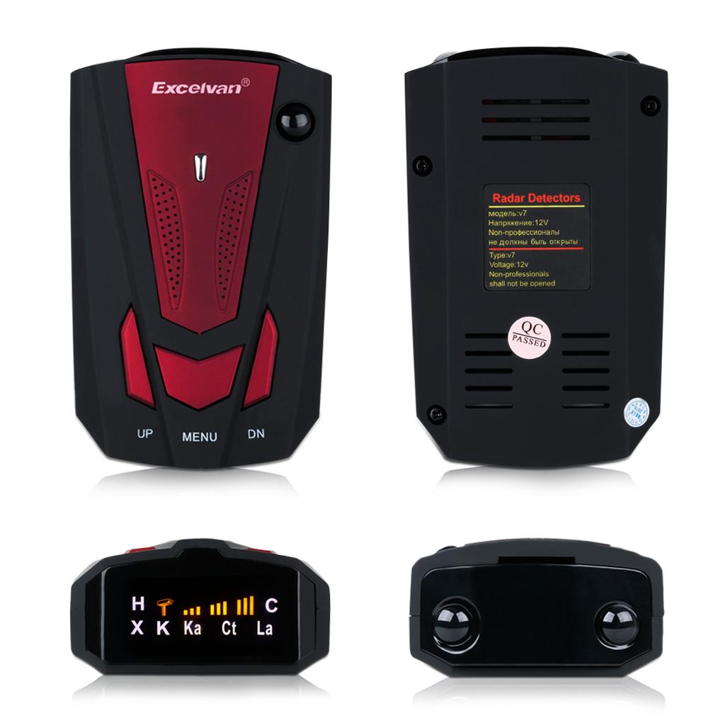 Excelvan 360 Degree Car Full 16 Band V7 Red Speed Safety Radar Detector Scanning Advanced Voice Alert Laser LED