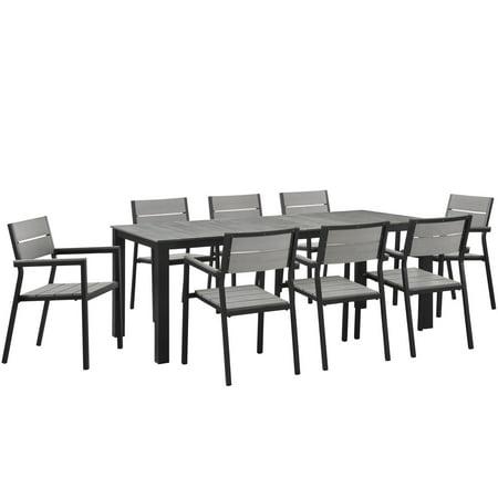 Contemporary Patio Set (Modern Urban Contemporary 9 pcs Outdoor Patio Dining Set, Brown Grey Steel)