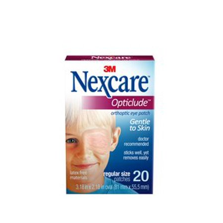 Nexcare Opticlude Orthoptic Eye PatchNexcare Opticlude Orthoptic Eyepatch, Regular, 3.18 in x 2.18 in (81 mm x 55.5 mm), Beige, 20 patches/box