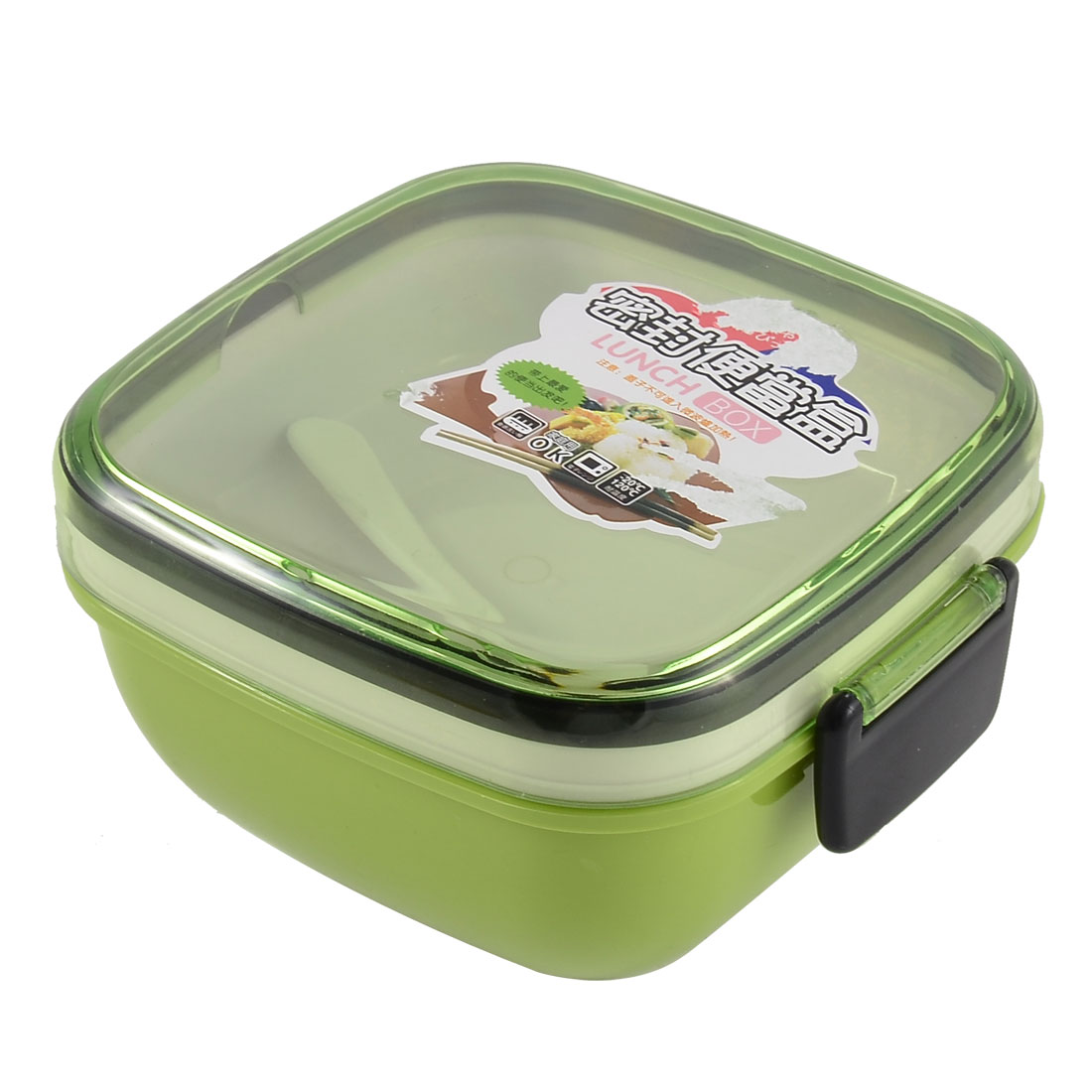Plastic Square Shaped Dual Layers Lunch Box Food Storage Container Green w Spoon