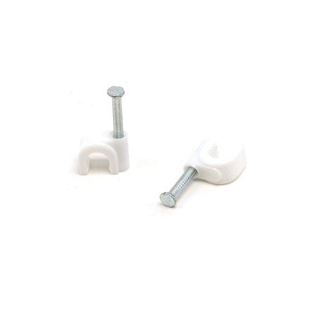 THE CIMPLE CO - Single Coaxial Cable Clips, Cat6, Electrical Wire Cable Clip, 1/4 in (6 mm) Nail Clip and Fastener, White (50 pieces per bag) (50 Piece Clips)