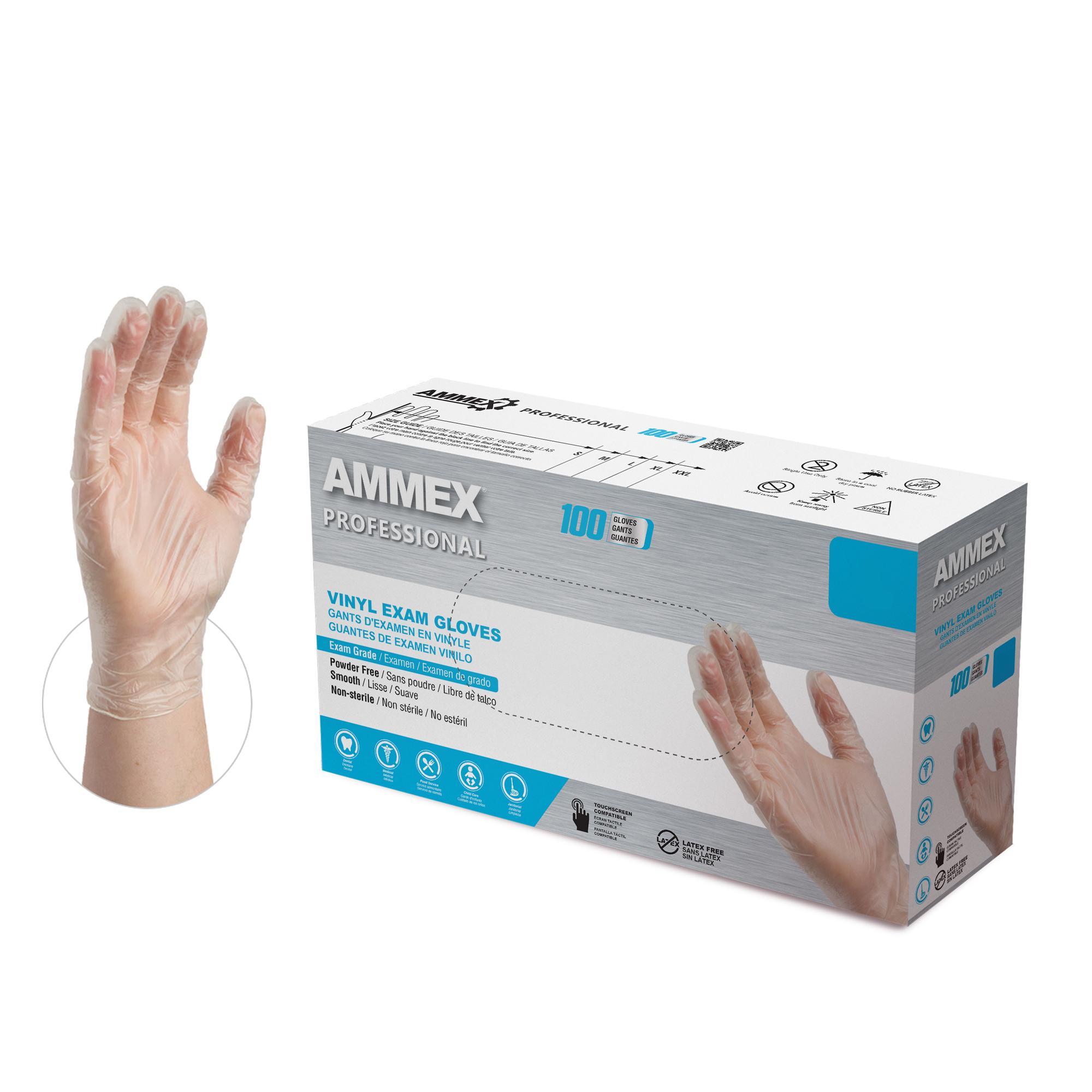 100pcs Vinyl Gloves Synthetic Exam Grade Medium Latex /& Powder free Food Safe
