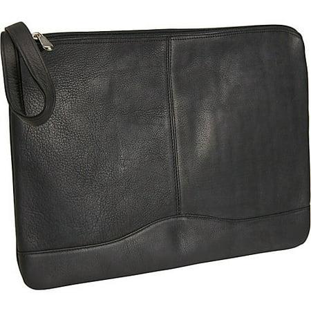 Leather Envelope Portfolio w Hide-Away Wrist Strap (Black)