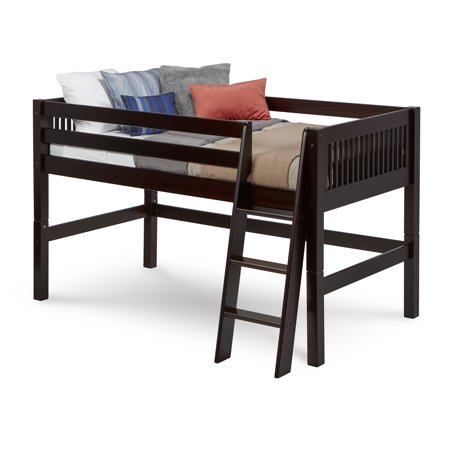 Camaflexi Twin Size Low Loft Bed Mission Headboard Cuccino Finish