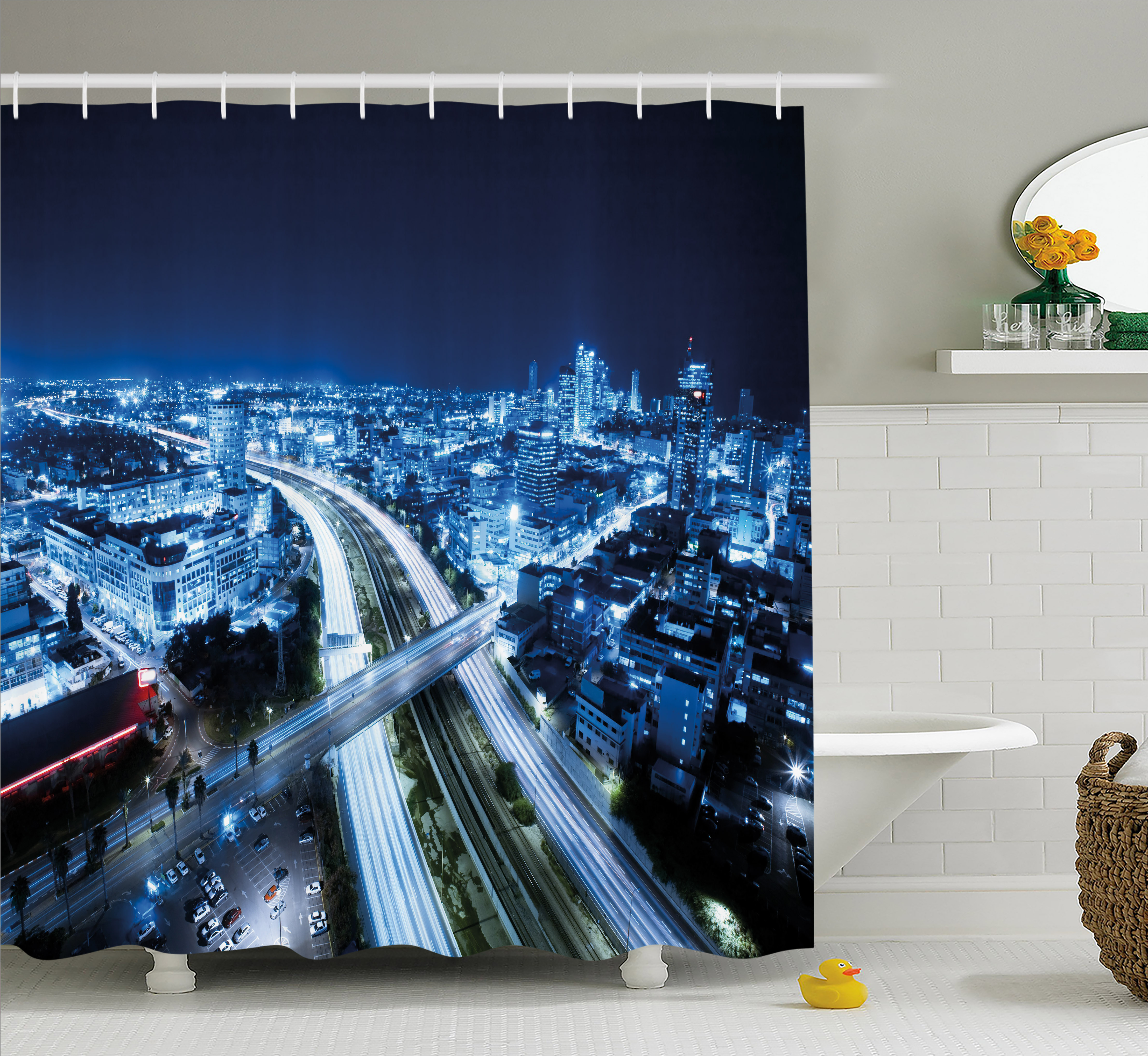 Travel Decor Shower Curtain, Aerial View Tel Aviv Night Ayalon Highway City Life Modern Panorama, Fabric Bathroom Set with Hooks, 69W X 70L Inches, Dark Blue Light Blue, by Ambesonne