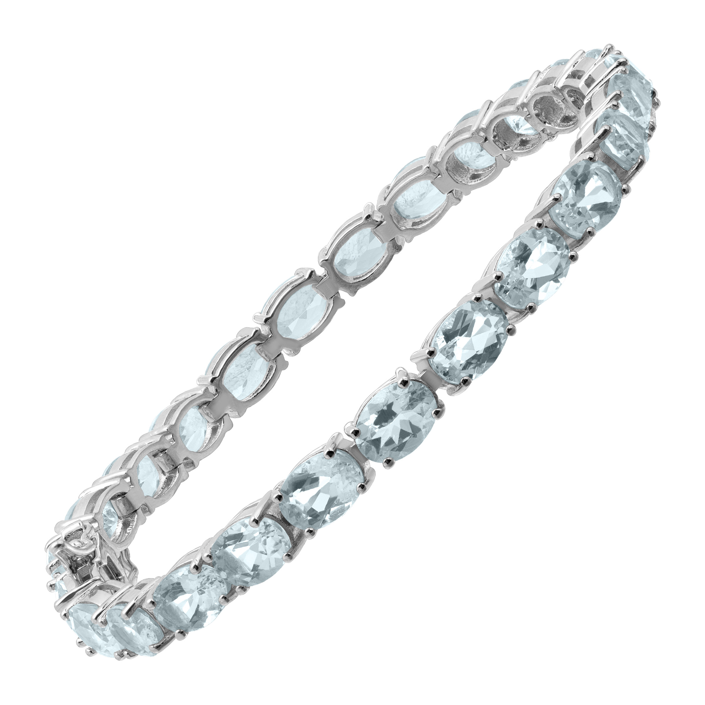24 ct Natural Aquamarine Tennis Bracelet in Sterling Silver by Richline Group