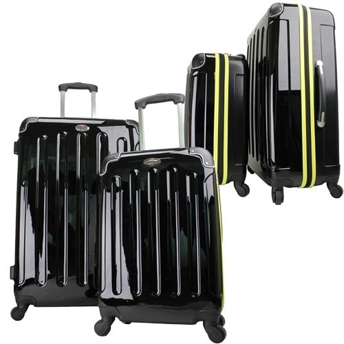 Swiss Case 4 Wheel Spinner 2 PC Luggage Set Black & Yellow Hardside Suitcases