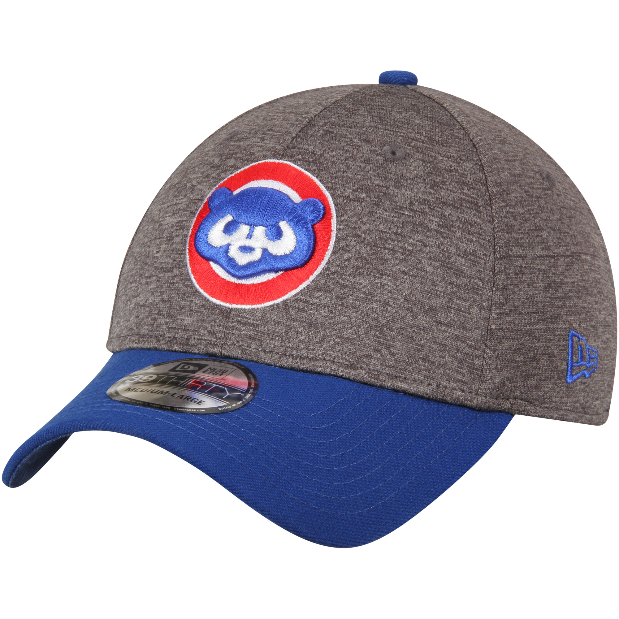Chicago Cubs New Era Adult 39THIRTY Shadow Tech Logo Flex Hat - Heathered Gray/Royal - M/L