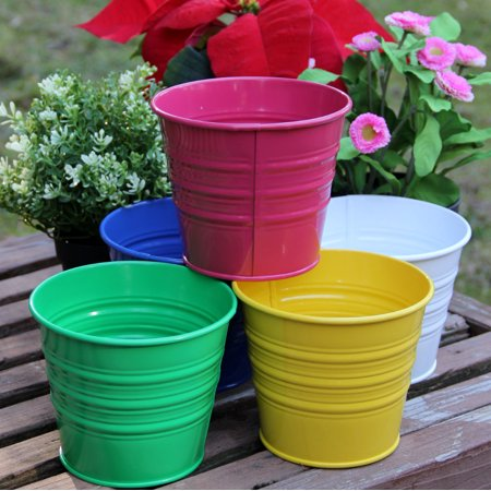 Flower Bucket Florist - Metal Basket Bucket Planters Pot Assorted Colors Set of 5 For Plant and Flower …