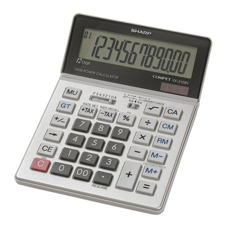 Sharp Vx2128v Desktop Calculator   12 Character S    Lcd   Solar  Battery Powered   0 9  X 5  X 7    Gray  Vx2128v 40