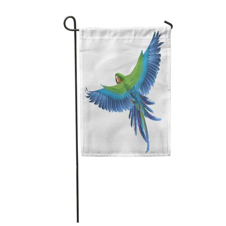 KDAGR Green Bird Parrot Blue Exotic Macaw Wing Jungle Fly Feather Garden Flag Decorative Flag House Banner 28x40 -