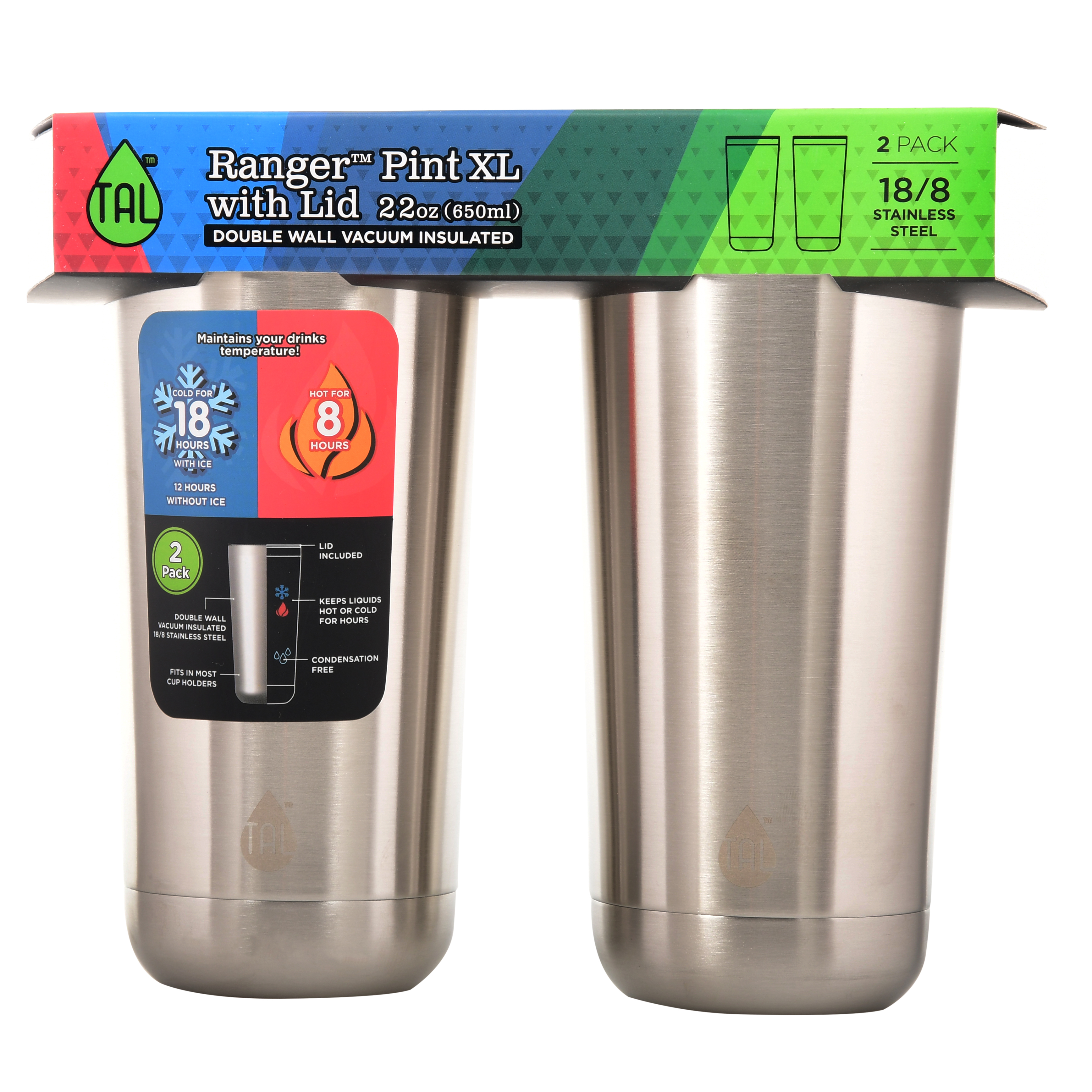 TAL 2 Pack 22oz Stainless Steel Double Wall Vacuum Insulated Ranger™ Pint XL