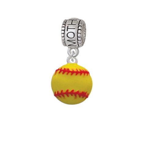 Large Optic Yellow Softball - Mother Charm Bead