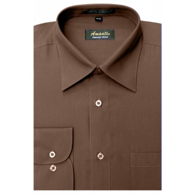 Amanti CL1001-17 1-2x36-37 Amanti Mens Wrinkle Free Solid Brown Dress Shirt - Brown-17 1-2 x 36-37