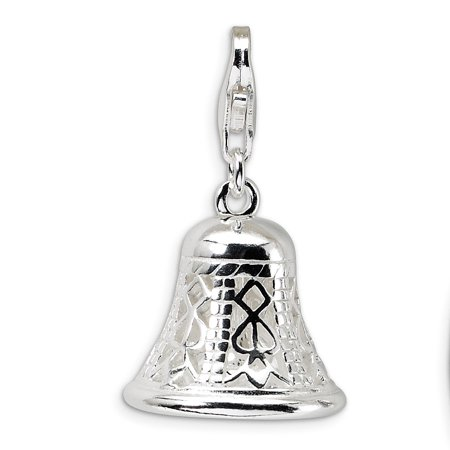 Sterling Silver Polished Movable Bell With Lobster Clasp Charm - 4.3 Grams - Measures -