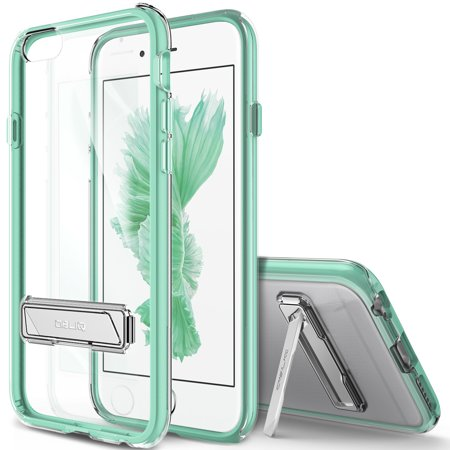 OBLIQ, iPhone 6S Case [Naked Shield][Mint] Metal Kickstand Slim Crystal Clear Back Anti Scratch Protective Cover for Apple iPhone 6 & iPhone 6S (iphone 6 mint rose case)