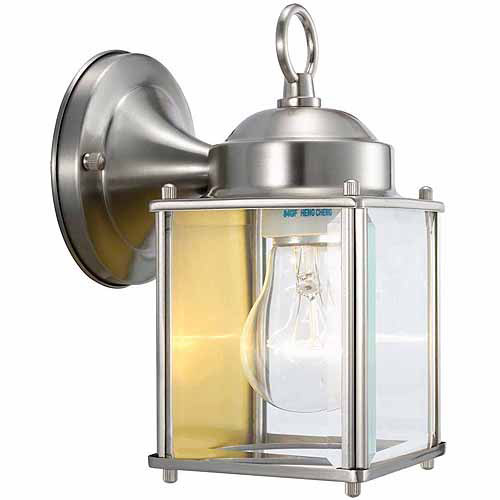 "Design House 507863 Coach Outdoor Downlight, 4.5"" x 8"", Satin Nickel Finish"