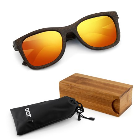 Wood Sunglasses Real Wooden Vintage Bamboo Lightweight Polarized Lenses Sunglass For Men Women Eyewear   Orange