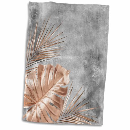 3dRose Image of Trendy Aloha Rose gold Tropical Leaf Foliage on Gray Concrete - Towel, 15 by (Rose Leaf Dish)