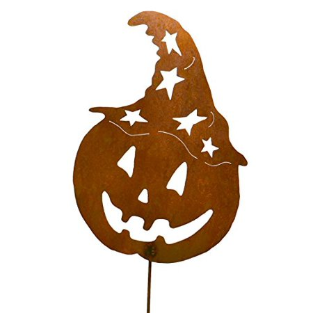 Jack-o-Lantern with Witch Hat Rustic Metal Yard Stake. Whimsical Halloween Decoration Idea. Handcrafted by Oregardenworks in the USA! - Yard Ideas For Halloween
