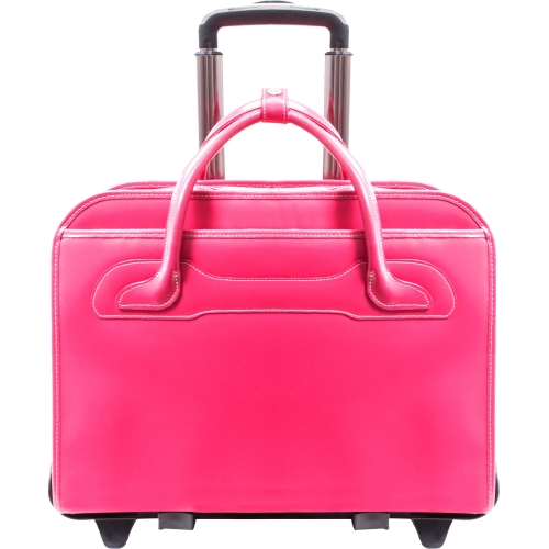 "McKleinUSA Willowbrook 17"" Leather Detachable-Wheeled Ladies' Briefcase - Pink"