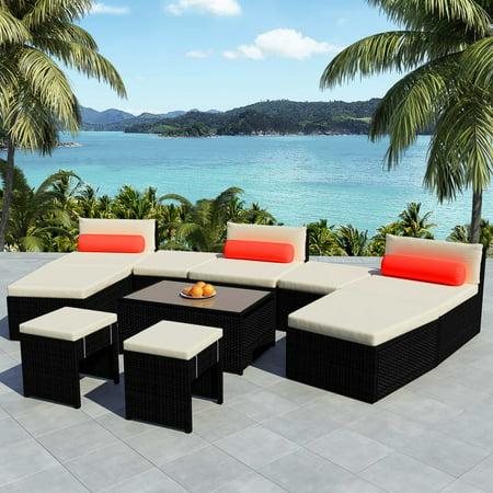 Modular Garden Lounge Set 25 Pieces Poly Rattan Black ()