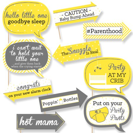 Funny Hello Little One - Yellow and Gray - Baby Shower Photo Booth Props Kit - 10 Count