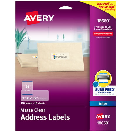 "Avery Matte Clear Address Labels, Sure Feed Technology, Inkjet, 1"" x 2-5/8"", 300 Labels (18660)"
