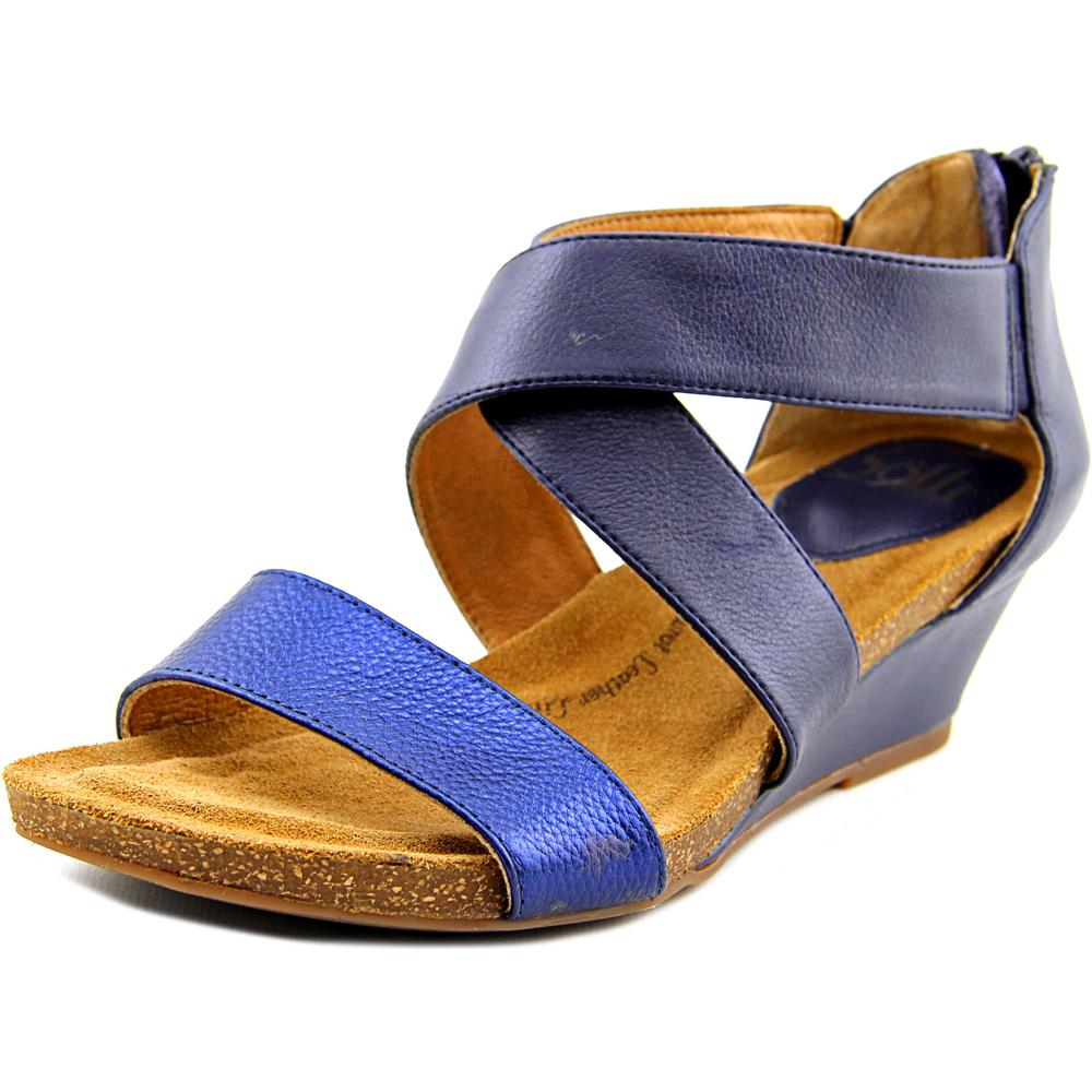 Sofft Vallar Women Open Toe Leather Blue Gladiator Sandal by Sofft
