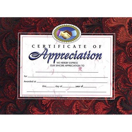CERTIFICATES OF APPRECIATION 30 PK 8.5 X -
