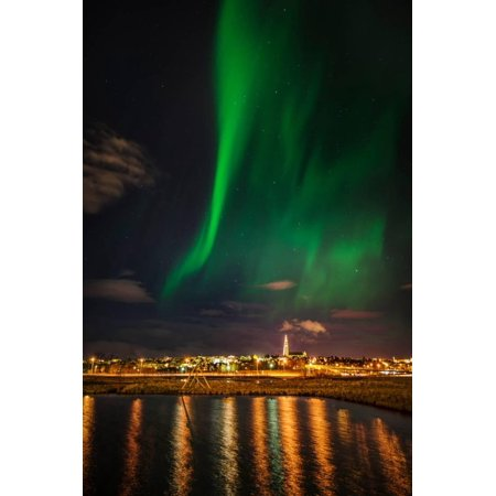 Aurora Borealis or Northern Lights, Reykjavik, Iceland Print Wall Art By Green Light Collection