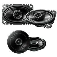"Pioneer TS-G4645R 200W 4 x 6"" 2-Way G-Series Coaxial Car Speakers ( PAIR) + Pioneer TS-G1645R 250W 6-1/2"" 2-Way G-Series Coaxial Car Speakers ( PAIR)"